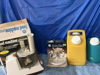 Unused food processor, and a couple of water