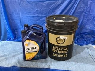 20 L pail of Rotella TSB0 40 and 2 -5 L jugs of