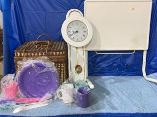 Picnic basket, battery operated clock, bedside