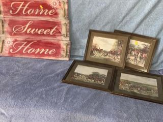 4 pictures and Home Sweet Home sign