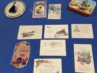 A number of vintage items, greeting cards, a hand