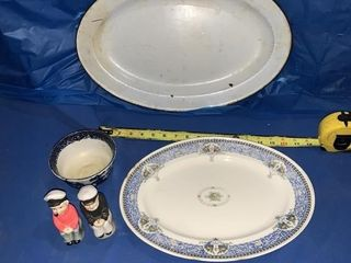 2 turkey platters, Old Willow dish- has a