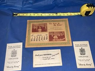 1945 Calendar War Saving Certificates