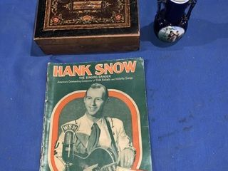 Hank Snow song book, a small jewelry box,