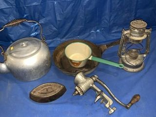 Kettle, sad iron, enamel dipper, barn lantern no