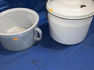 Blue gray enamel bed pot and a white enamel bed