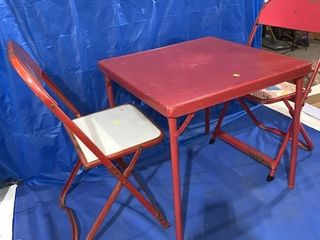 Vintage kids metal table and two folding chairs,
