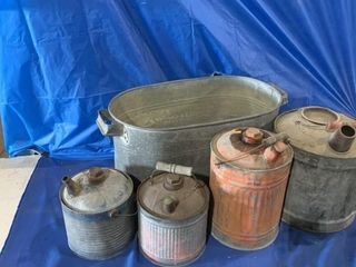 Galvanized tub, kerosene cans, and a gas can