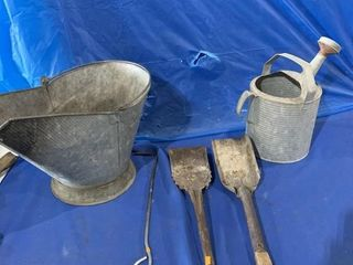 Coal scuttle, hand scoops, galvanized watering can