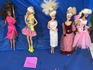 Five Mattel Barbie dolls 1966; three made in