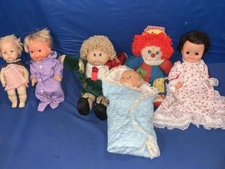 Six various dolls