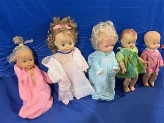 Five various dolls