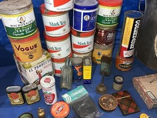 Miscellaneous silverware, tobacco cans, imperial