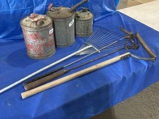 Vintage kerosene cans, leaf rake, grass whip etc.