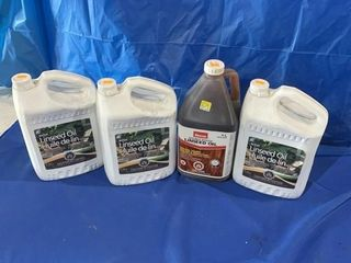4 jugs of linseed oil
