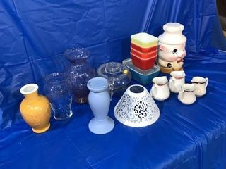 Cookie jar, quantity of vases , some small Pyrex