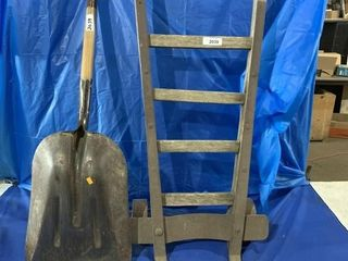 Vintage moving cart and steel scoop shovel