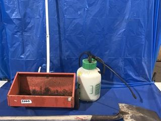 1 gallon spot sprayer, yard grass seeder and a