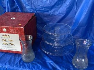 Unused 3 tier glass cake tray and two
