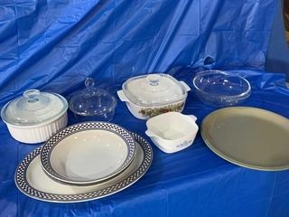 Several bowls including CorningWare ,turkey