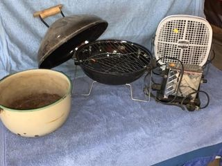 Enamel pot, hibachi, vintage electric toaster,