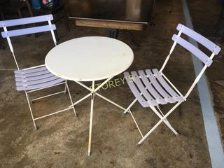 2' White Folding Patio Table w/ 2 Folding Chairs