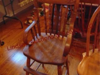 Wood high chair w  arms
