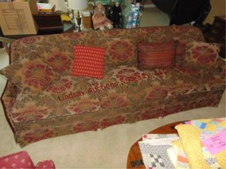 Floral couch w  pillows approx 86  long