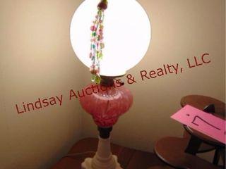 Antique lamp w  globe  works