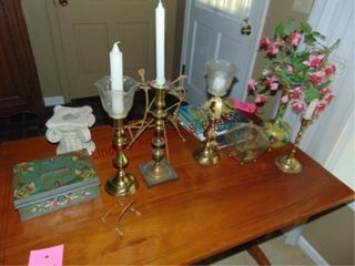 Group of misc decor  candle stick holders   other