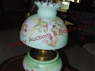 Vintage lamp w  glass shade