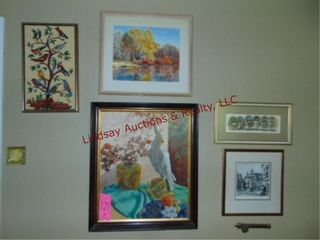 10 various size pictures other  Some in frames