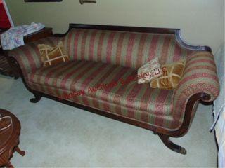 Cloth sofa w  wood frame approx 7  long