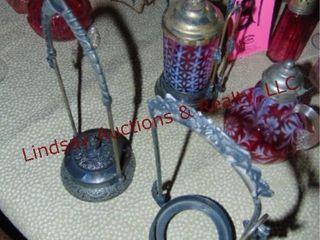 2 pcs of Cranberry glass   3 brass holders