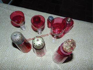 9 pcs of Cranberry glass  S P shakers  cruet