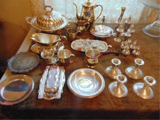 Approx 38 pcs of antique silver plat serving ware