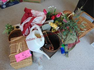 Group of misc decor  wicker baskets  doll