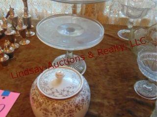 3 pcs  2 glass cake plates   1 pot w  lid
