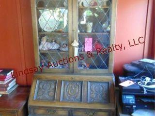 Wood hutch w  secretary fold out   5 drawers