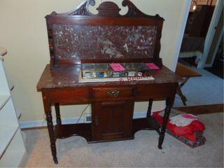 Wood table w  1 drawer   1 door