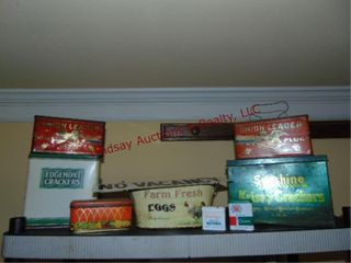9 pcs of vintage advertisement tins   other