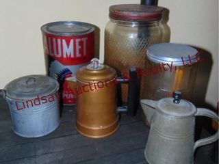 6 ps  metal bucket  pitcher  vintage can