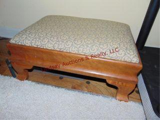 small wood foot stool w  cloth top