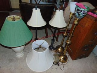 6 various size lamps w  shades   extra shade
