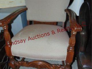 Checkered cloth chair w  wood arms legs
