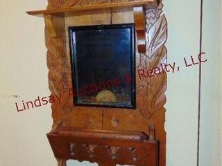 Wood carved wall mirror w  rack 14 5x28