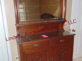 Wood 2 door 2 drawer hutch w  mirror 47x17x75
