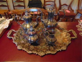 5 pcs of silver plate  coffee tea pots  cream