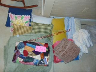 Group of blankets  pillows   towels