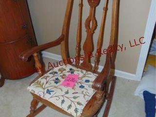 Wood rocking chair w  cushion